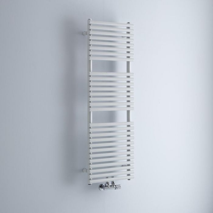 Milano Via - White Central Connection Bar on Bar Heated Towel Rail - 1200mm x 400mm