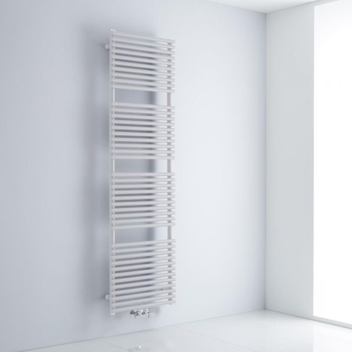 Milano Via - White Central Connection Bar on Bar Heated Towel Rail - 1823mm x 500mm