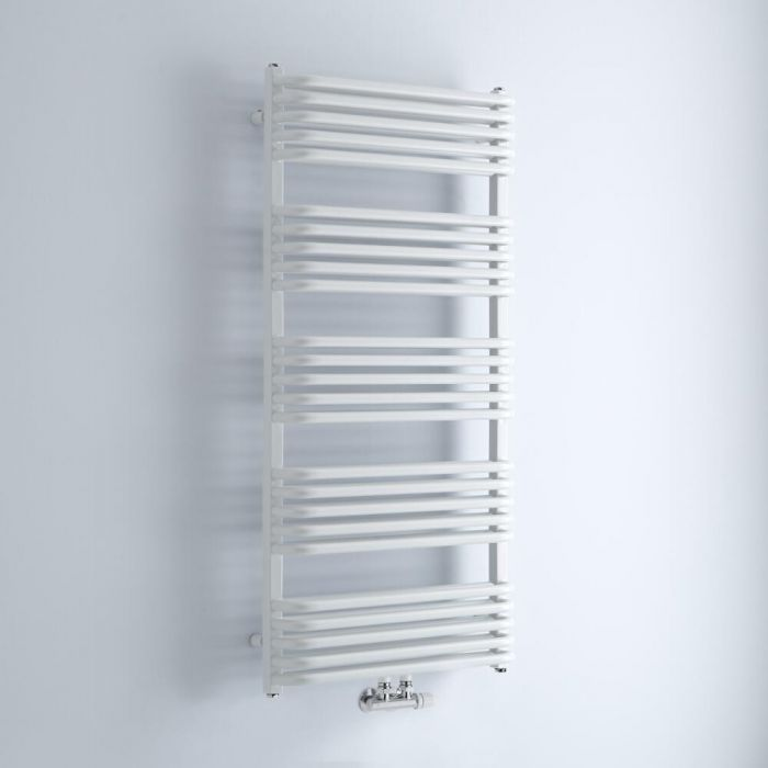 Milano Bow - White D-Bar Heated Towel Rail - 1269mm x 600mm