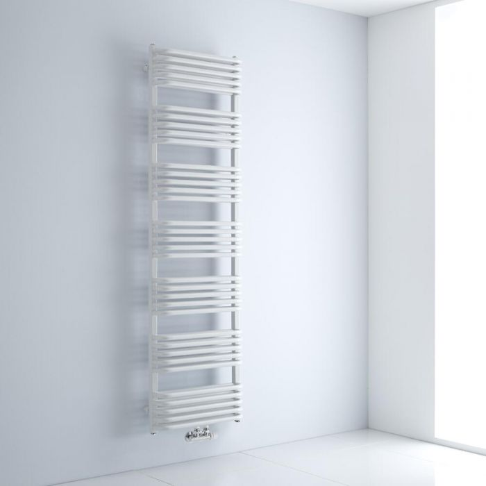 Milano Bow - White D-Bar Heated Towel Rail - 1800mm x 500mm