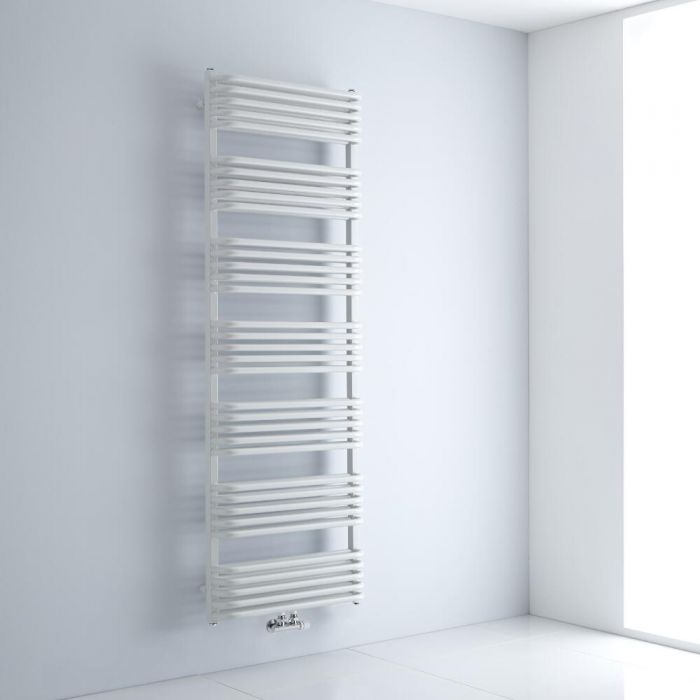 Milano Bow - White D-Bar Heated Towel Rail - 1800mm x 600mm