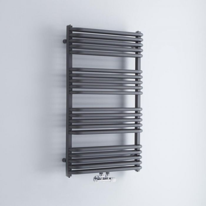 Milano Bow - Anthracite D-Bar Central Connection Heated Towel Rail - 1000mm x 600mm