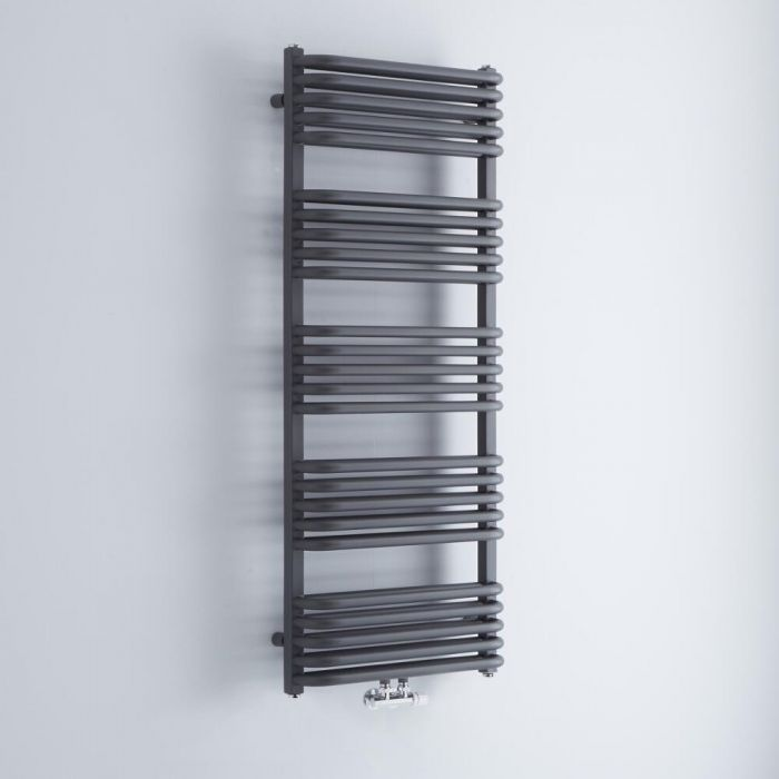 Milano Bow - Anthracite D-Bar Central Connection Heated Towel Rail - 1269mm x 500mm