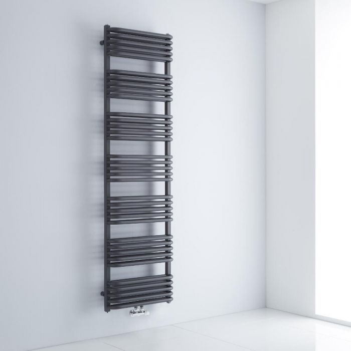 Milano Bow - Anthracite D-Bar Central Connection Heated Towel Rail - 1800mm x 500mm