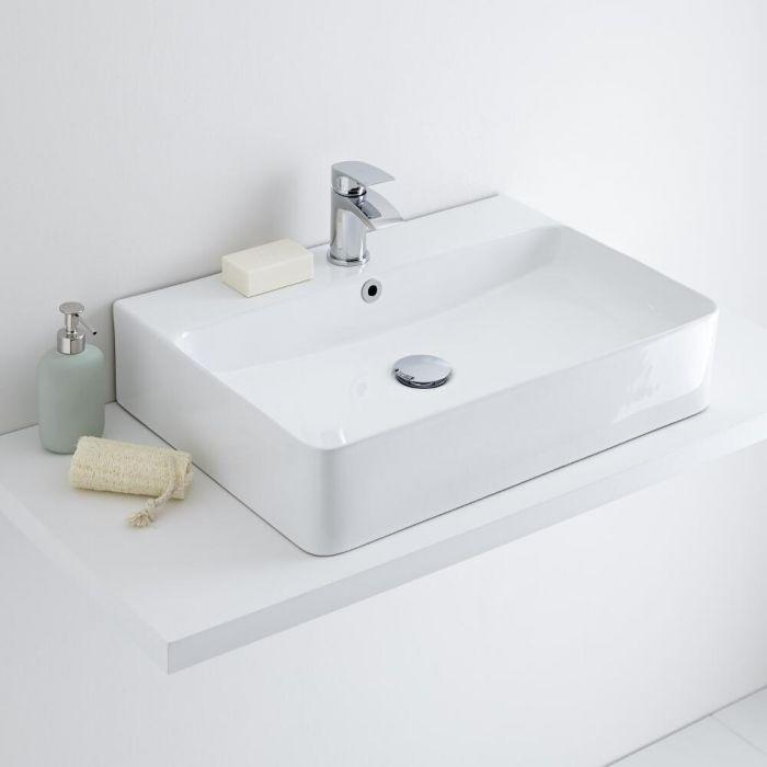 Milano Farington - White Modern Rectangular Countertop Basin - 600mm x 420mm (1 Tap-Hole)