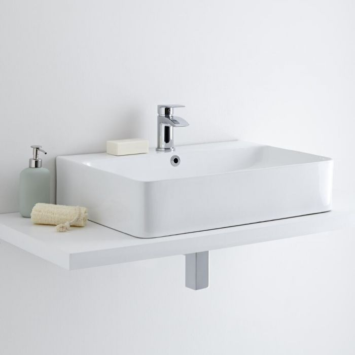 Milano Farington - White Modern Rectangular Countertop Basin with Mono Mixer Tap - 600mm x 420mm
