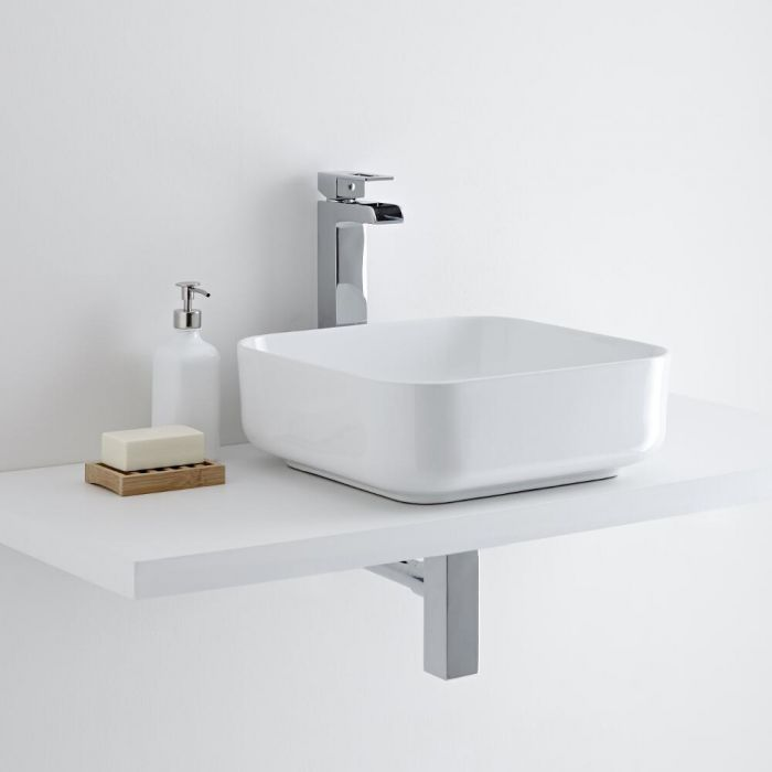 Milano Longton - White Modern Square Countertop Basin with High Rise Mixer Tap - 360mm x 360mm