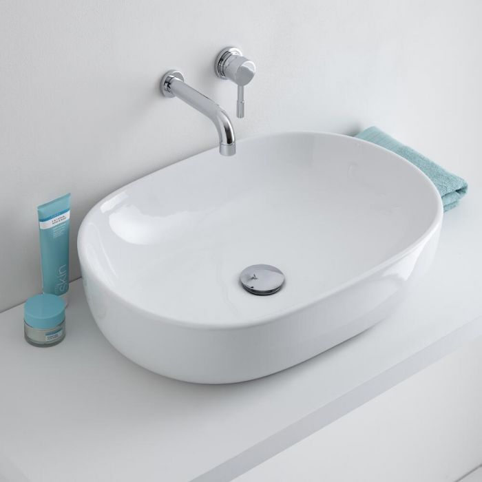 Milano Overton - White Modern Round Countertop Basin with Wall Mounted Mixer Tap - 590mm x 410mm