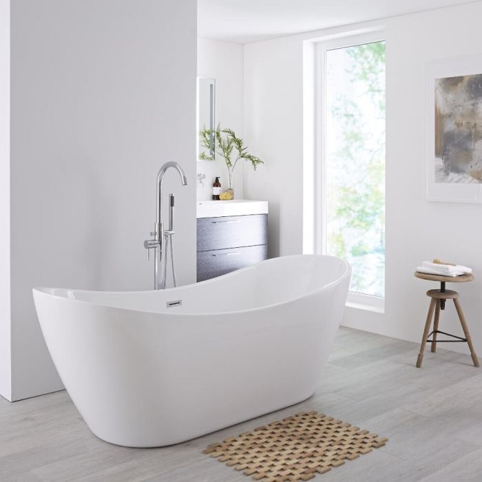 Milano Overton - White Modern Oval Double-Ended Freestanding Bath - 1830mm x 710mm