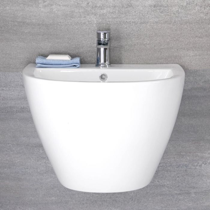 Milano Irwell - White Modern Wall Hung Basin - 530mm x 440mm (1 Tap-Hole)