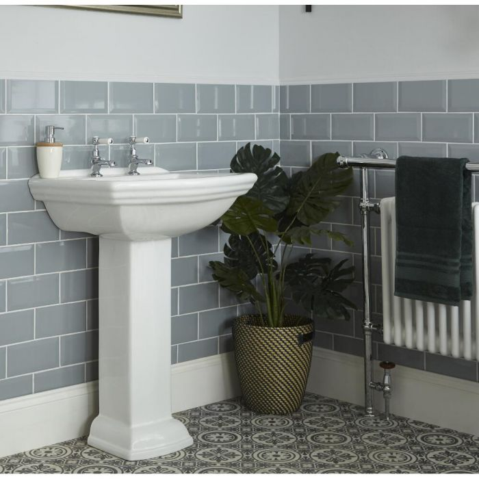 Milano Sandringham - Traditional 2 Tap-Hole Basin with Full Pedestal - 605mm