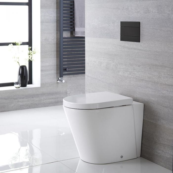 Milano Rivington White Modern Round Back To Wall Toilet With Soft Close Seat