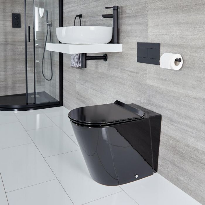 Milano Nero - Round Back to Wall Toilet - Black