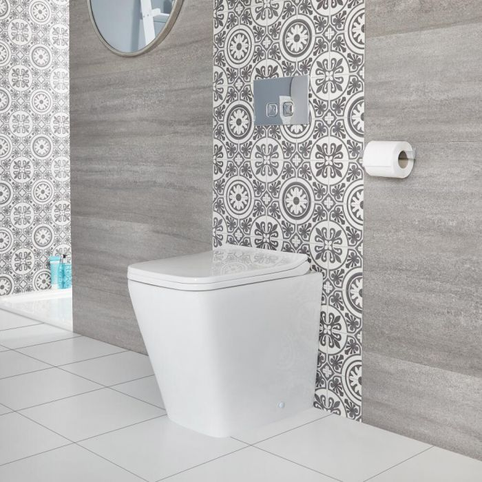 Milano Elswick - Modern Square Back to Wall Toilet with Soft Close Seat