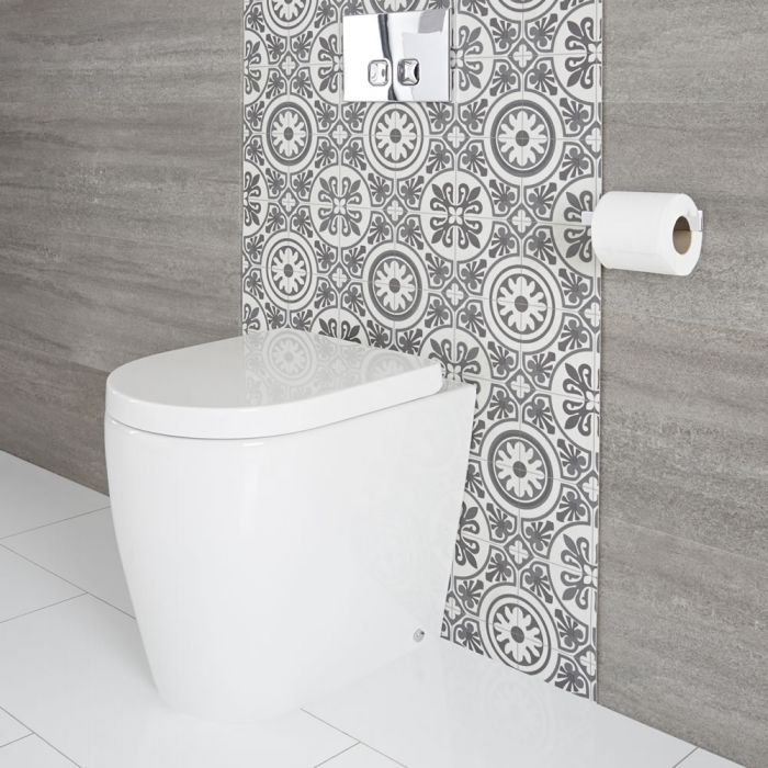 Milano Overton - Modern Oval Back to Wall Toilet with Soft Close Seat