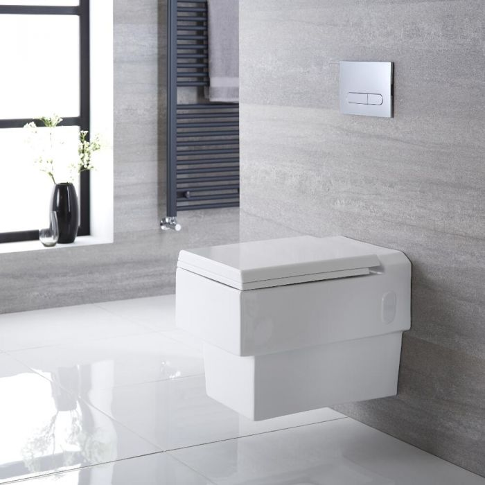 Milano Westby - White Modern Square Wall Hung Toilet with Soft Close Seat
