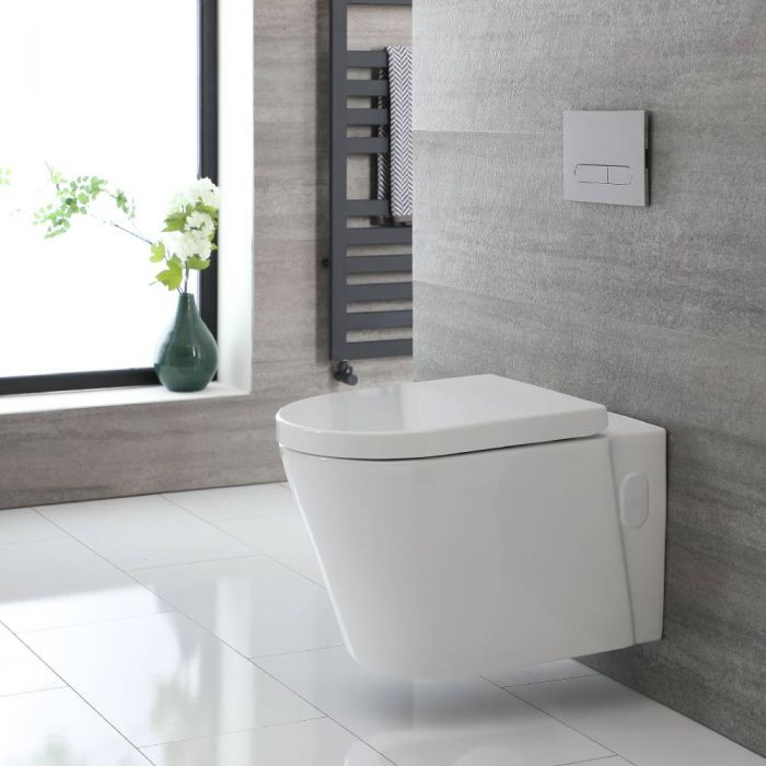 Milano Ballam - White Modern Round Rimless Wall Hung Toilet with Soft Close Seat