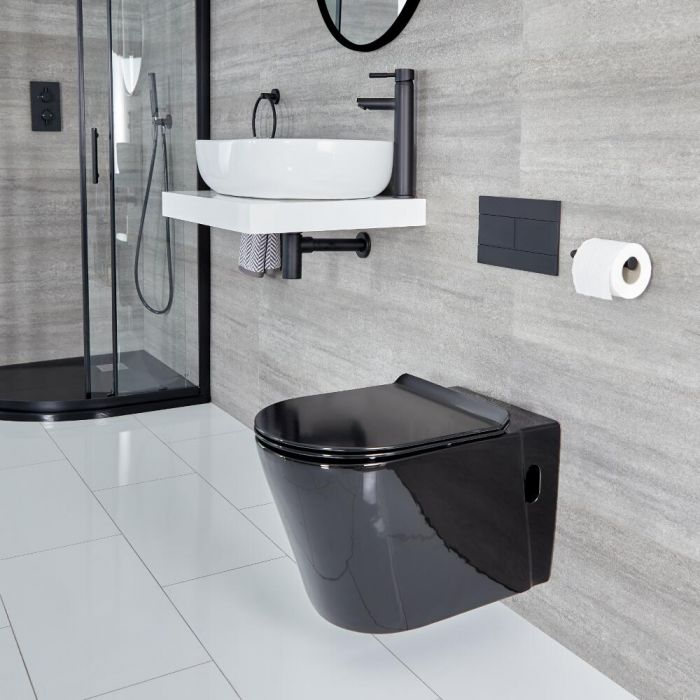 Milano Nero - Wall Hung Toilet - Black