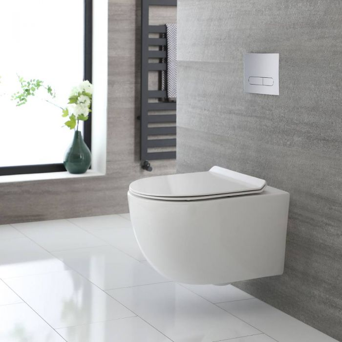 Milano Overton - White Modern Round Wall Hung Rimless Toilet with Soft Close Seat