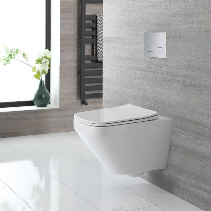 Milano Farington - White Modern Square Wall Hung Rimless Toilet with Soft Close Seat