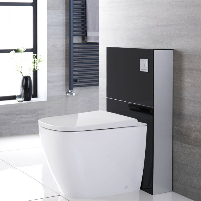 Milano Arca - Black 500mm Back to Wall Japanese Bidet Toilet Complete WC Unit