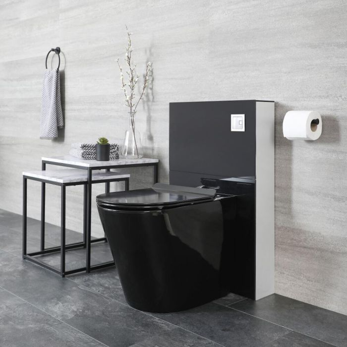 Milano Nero - Black 500mm Complete WC Unit with Back to Wall Toilet