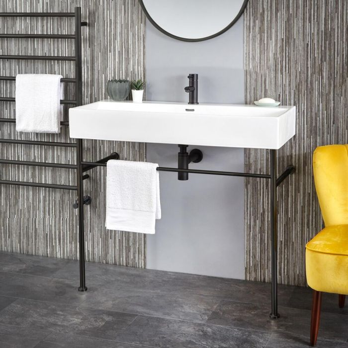 Milano Elswick - 1000mm Basin with Black Washstand