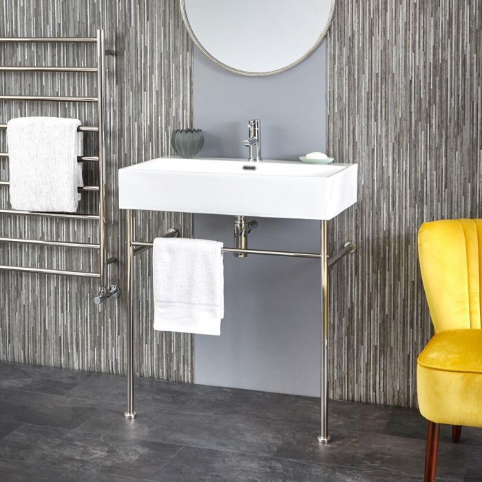 Milano Elswick - 750mm Basin with Chrome Washstand
