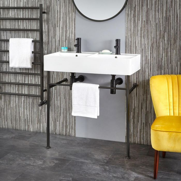 Milano Dalton - 820mm Double Basin with Black Washstand