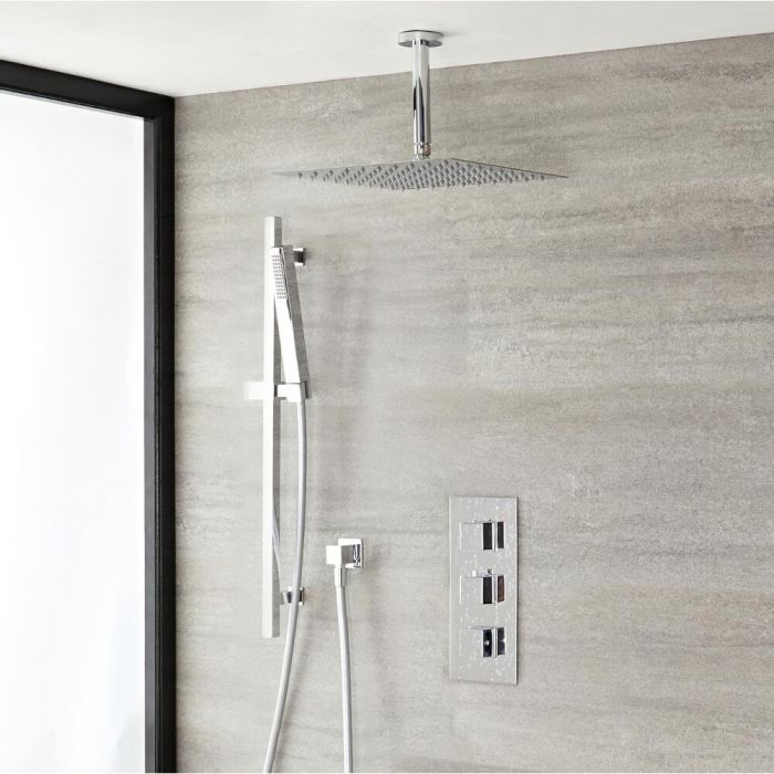 Milano Arvo - Chrome Thermostatic Shower with 300mm Ceiling Shower Head, Hand Shower and Riser Rail (2 Outlet)