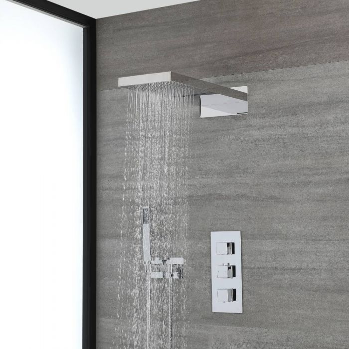 Milano Arvo - Chrome Thermostatic Shower with Diverter, Waterblade Shower Head and Hand Shower with Holder (3 Outlet)