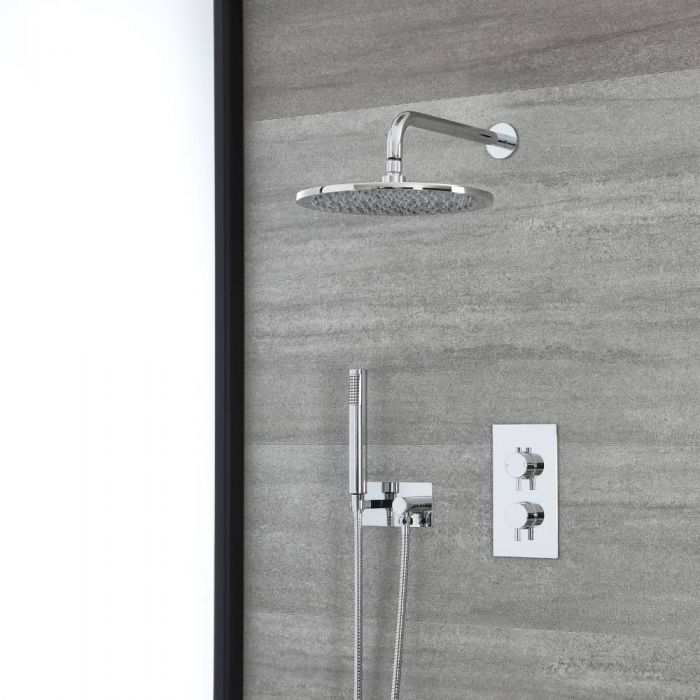 Milano Mirage - Chrome Thermostatic Shower with Diverter, Shower Head and Hand Shower with Holder (2 Outlet)