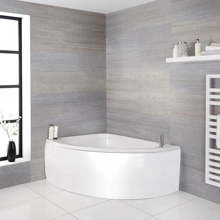 Milano Newby - White Modern Left Hand Corner Bath with Panel - 1500mm x 1020mm