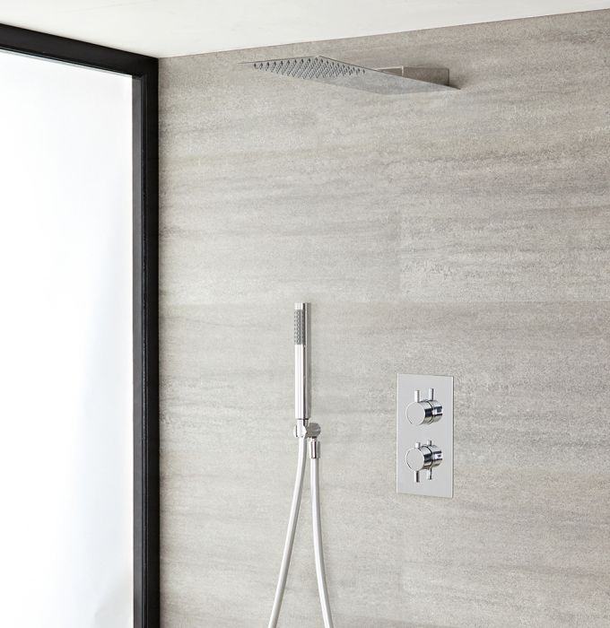 Milano Mirage - Chrome Thermostatic Shower with Diverter, Slim Shower Head and Hand Shower (2 Outlet)