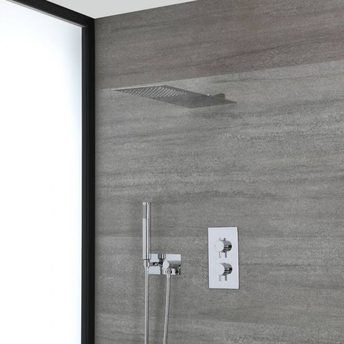 Milano Mirage - Chrome Thermostatic Shower with Diverter, Slim Shower Head and Hand Shower with Holder (2 Outlet)