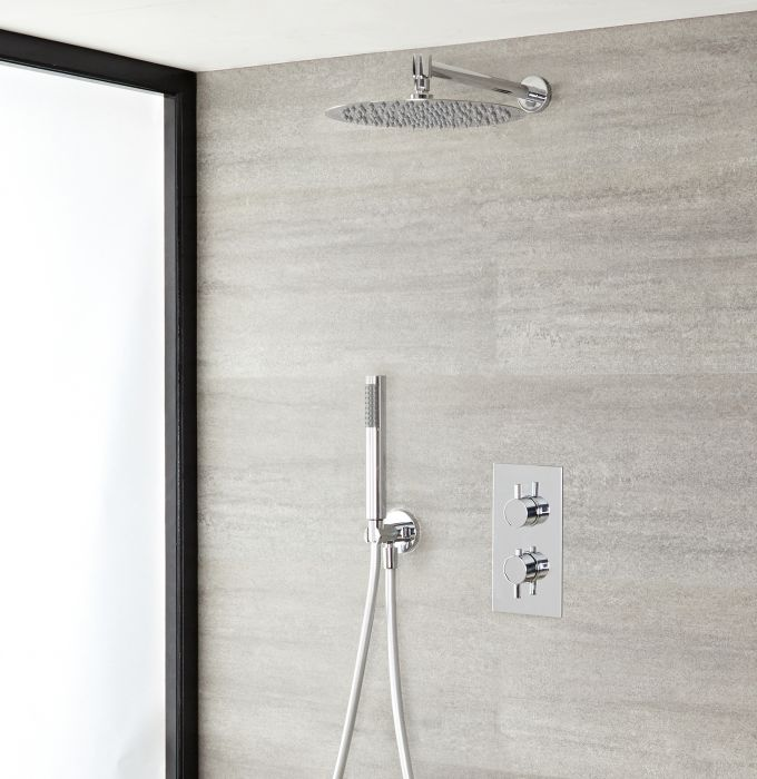 Milano Mirage - Chrome Thermostatic Shower with Diverter, Shower Head and Hand Shower (2 Outlet)