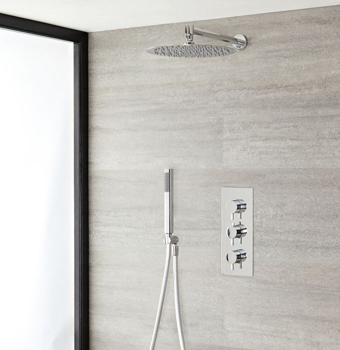 Milano Mirage - Chrome Thermostatic Shower with Wall Mounted Shower Head and Hand Shower (2 Outlet)