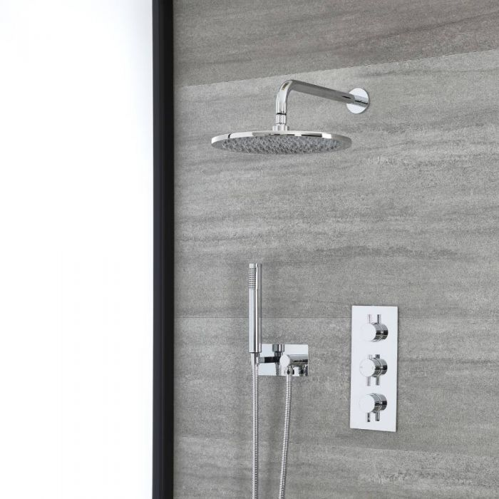 Milano Mirage - Chrome Thermostatic Shower with Wall Mounted Shower Head and Hand Shower with Holder (2 Outlet)