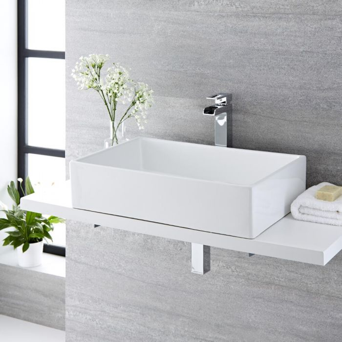 Milano Westby - White Modern Rectangular Countertop Basin - 600mm x 390mm (No Tap-Holes)