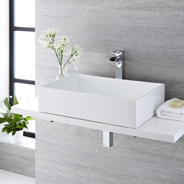Milano Westby - White Modern Rectangular Countertop Basin - 610mm x 400mm (No Tap-Holes)