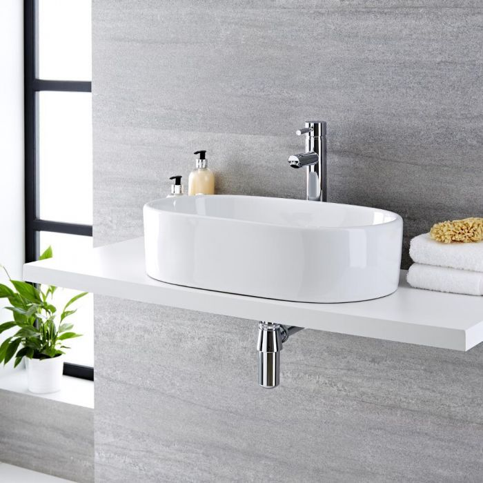 Milano Overton - White Modern Round Countertop Basin with High Rise Mixer Tap - 575mm x 360mm
