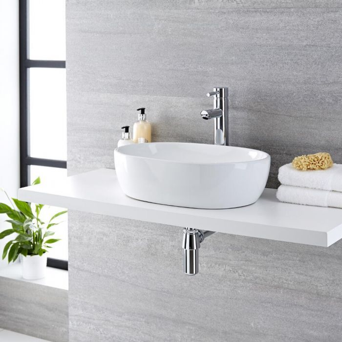 Milano Overton - White Modern Round Countertop Basin with High Rise Mixer Tap - 480mm x 350mm