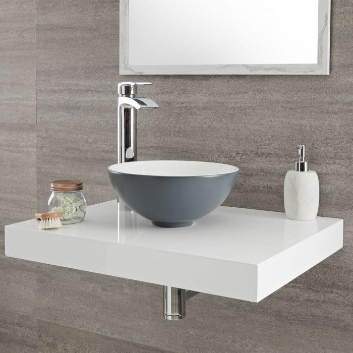Milano Altcar - Stone Grey Modern Round Countertop Basin - 280mm x 280mm (No Tap-Holes)