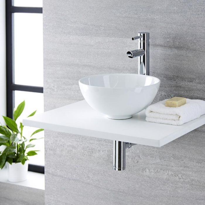 Milano Irwell - White Modern Round Countertop Basin with High Rise Mixer Tap - 320mm x 320mm