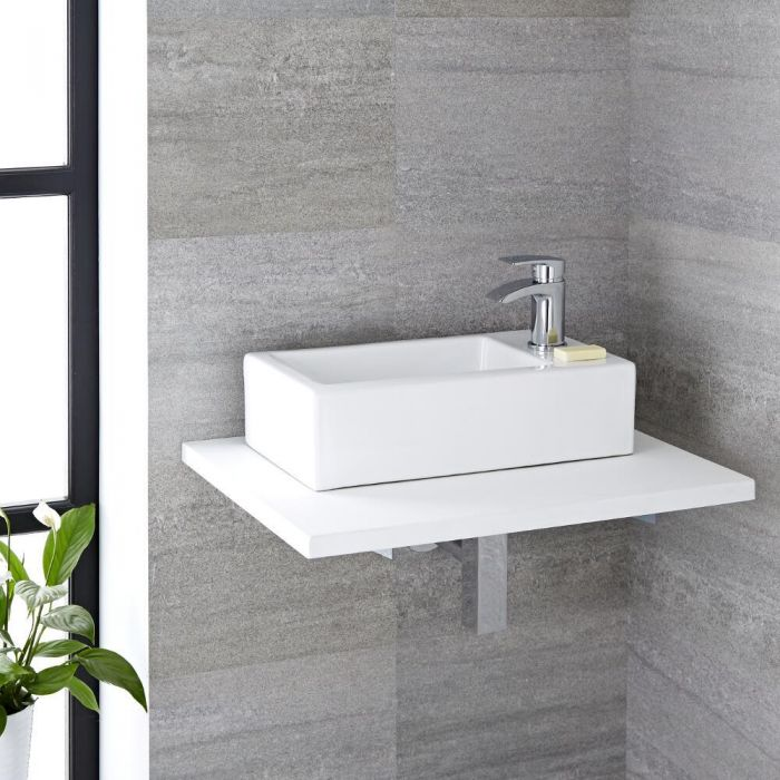 Milano Elswick - White Modern Rectangular Countertop Basin with Deck Mounted Mixer Tap - 450mm x 250mm