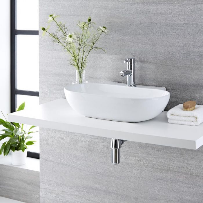 Milano Overton - White Modern Oval Countertop Basin with Mono Mixer Tap - 555mm x 395mm