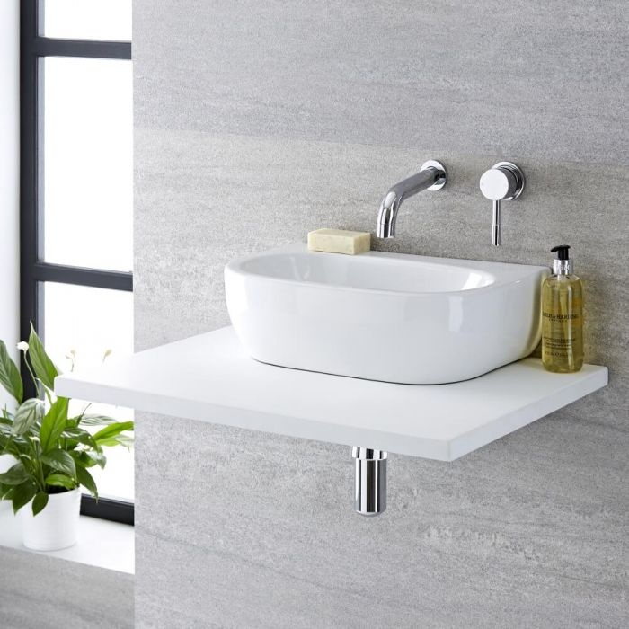 Milano Mellor - White Modern Oval Countertop Basin - 420mm x 290mm (No Tap-Holes)
