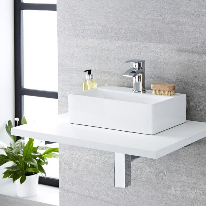 Milano Elswick - White Modern Rectangular Countertop Basin with Deck Mounted Mixer Tap - 360mm x 250mm