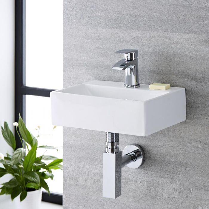 Milano Elswick - White Modern Rectangular Wall Hung Basin - 360mm x 250mm (1 Tap-Hole)