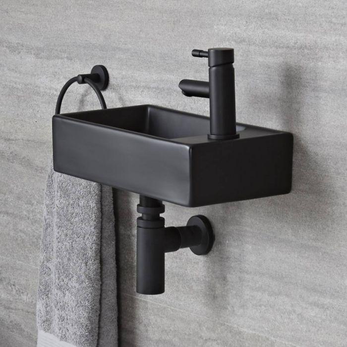 Milano Nero - Black Modern Rectangular Wall Hung Basin - 400mm x 220mm (1 Tap-Hole)